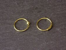 Pair of Gold Plated 10mm Solid 925 Sterling Silver Nose Rings 0.8mm 18g