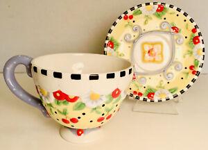 Mary Engelbreit 2004 Cherries Polka Dots Flower Blooms teacup Tea cup & Saucer