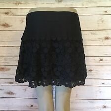 Ambercrombie  Fitch Womans 6 Navy Cotton Lace/Crochet Overlay A Line Above Knee