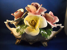 CAPODIMONTE YELLOW & PINK OBLONG VASE W/ HANDLES   CROWN NUOVA MADE IN ITALY