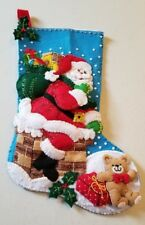 """Awes@me """"Down the Chimney"""" Completely Handmade 18-In  Christmas Stocking Bucilla"""