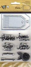 New MOMENTA rubber stamp  & die SET THANKS FRIENDSHIP  Free USA ship
