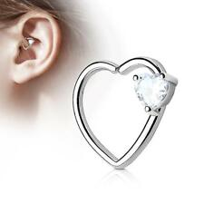 Silver 16 Gauge Heart  Ear Cartilage/Daith Hoop Ring with Clear Heart Set CZ