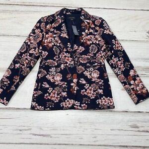 Ann Taylor Blazer Jacket Suit Coat Floral Blue Coral 2P Size 2 Petite