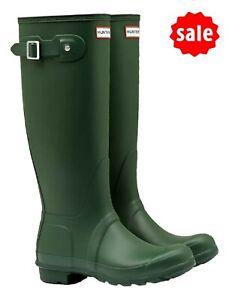 SALE Ladies Original Tall Hunter Wellies Wellington Boots Green Size UK 6