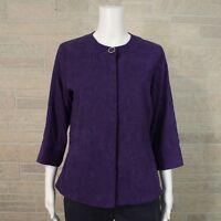 Coldwater Creek Petite 10P Purple Crinkled Textured Blazer Jacket Hidden Buttons