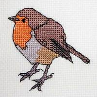 Christmas Robin modern counted cross stitch card pdf pattern chart embroidery