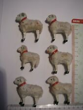 6 uralte Schafe Holzbeine, Krippenfigur, Weihnachten, Erzgebirge ?, Wollschafe ?