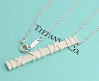 TIFFANY&Co Atlas Matte Bar Pendant Necklace Sterling Silver 925