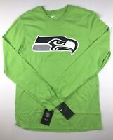 Nike Seattle Seahawks Mens Medium Action Green Long Sleeve Logo T Shirt Top NWT