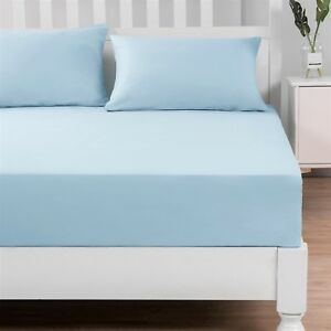 DaDa Bedding Soothing SeaFoam Pastel Blue Cotton Fitted Sheet & Pillow Cases