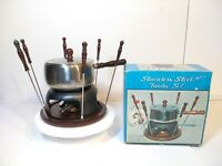 "Vintage Stainless Steel  Fondue Set 9"" Wooden Base Pot Fondue Forks Burner Stand"