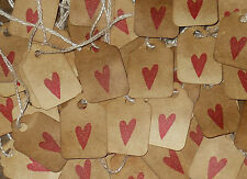 SPECIAL 100 TINY MINI PRIM RED HEART HANG TAGS PRICE PARTY DECOR VALENTINES DAY