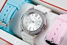 NEW GUESS SS SPORT LADY WATCH WHITE PINK BLUE RUBBER STRAP I10173L1 GIFT BOX SET