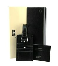 MONTBLANC 105257 LIFESTYLE ACCESSORIES LUGGAGE TAG BLACK LEATHER 3 RINGS MOTIF
