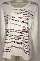 Quacker Factory Top M Sequins White Long Sleeve Zoom Career Business Holiday L/S