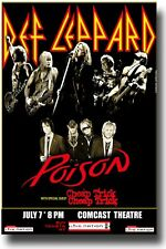 Def Leppard Poster w Poison Concert USA SameDay Ship 11 x 17 inches Blk