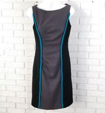 Milly of New York Wool Sheath Dress 2 Black Gray Colorblock Pleated
