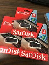 (3) SanDisk Cruzer Blade 16 GB USB Flash Drive Large Capacity New 48 GB