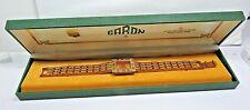 NOS MINT GARON Antique Reno Woman's Wrist Watch 17 Jewels Gold Dial Metal Band
