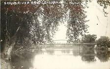 c1910 RPPC Postcard Grand River Bridge, Saranac MI Huntley Ionia County Unposted
