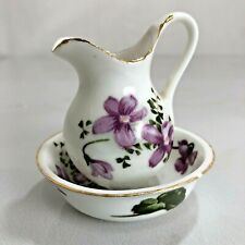 Ardco Miniature Bowl And Pitcher Gold Rimmed Purple Violet Flowers Wash Basin