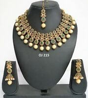 Indian Fashion Bridal Jewelry Wedding Kundan Pearl Necklace Earring Set OJ 215