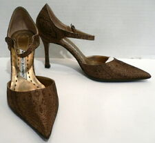 MANOLO BLAHNIK Gold Brocade Fabric/Leather High Heel Ankle Strap Pumps Shoes 7.5