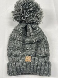 CC Exclusives Beanie Gray Poof Knit Winter Hat