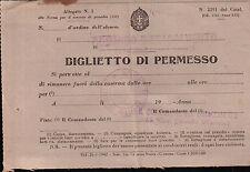 BIGLIETTO DI PERMESSO COMANDO 15a COMPAGNIA DI SANITA' LIGURIA C5-531