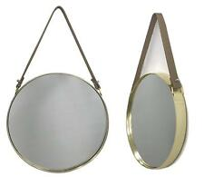 Innova Round Metal Framed Mirror With Hanging Strap Gold 30cm