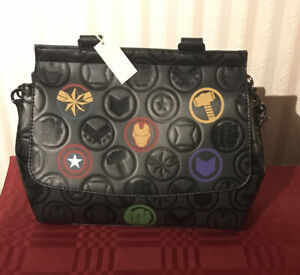 Loungefly Marvel Avengers Debossed Icons AOP Bag Purse NEW