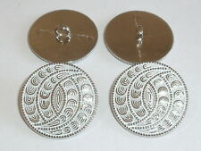 6 Stück Metallknöpfe Knopf Ösenknopf  18 mm schwarz//silber NEU rostfrei 0525