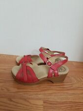 Dansko Season Full Grain Red Leather Ankle Strap Sandal SZ 37 (6.5-7) EUC