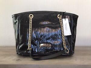 Versace Collection LBFS331 Shoulder Tote Bag Leather Purse Eggplant Purple NEW