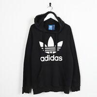 Vintage ADIDAS ORIGINALS Big Trefoil Logo Hoodie Sweatshirt Black   Medium M
