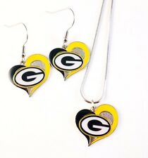 """NFL """"GREEN BAY PACKERS"""" NECKLACE / EARRINGS TEAM LOGO  FASHION JEWELRY AMINCO"""