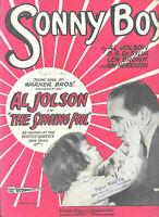 Sonny Boy Al Jolson Vintage Sheet Music 1928 Piano Ukulele Vocal Free Shipping