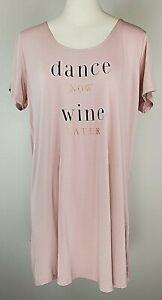 "Danskin Intimates Short Sleeve Sleep Shirt - Size L -Pink ""Dance Now Wine Later"""