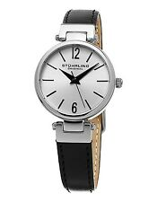 Women's Stuhrling Classique 956 Silver Stainless Black Leather Watch NIB $395