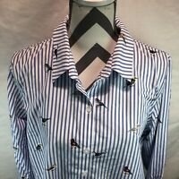 Coldwater Creek Blue White Striped Birds Long Sleeve Button Up Shirt 16 OOO11