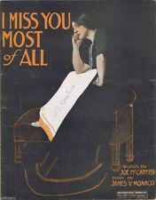 I Miss You Most Of All, 1913, Vintage Sheet Music