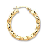 9ct 375 Yellow Gold Twisted Hoop Earrings - Fully Hallmarked