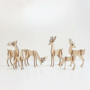 Family Of Reindeers - Festive Christmas Stag Table Decorations Slot Together Set