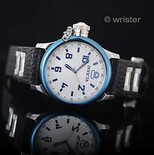 Men's Russian Diver Swiss Parts Black Leather Blue Silver Dial New Invicta Watch