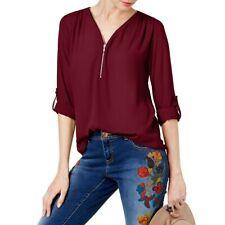INC NEW Women's Zip Front Mixed-Media Blouse Shirt Top TEDO