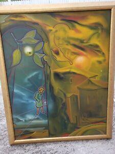 "Oil On Canvas Surrealism 90s Signed SH brooklyn, NY  '93 Surrealist theme ""Alex"""