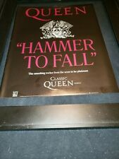Queen Hammer To Fall Rare Original Radio Promo Poster Ad Framed!