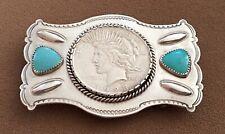 Vintage STERLING SILVER TURQUOISE Don Lucas Custom 1923 Peace Dollar BELT BUCKLE