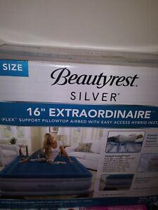 """Beautyrest Silver Full 16"""" Extraordinaire Pillowtop Air Matress w/Instapump NIB!"""